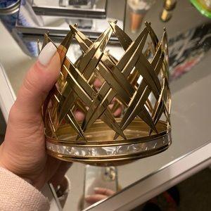 Gold palm leaf candle holder